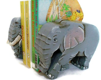 Elephant Bookends Hand Painted Wood Non Toxic