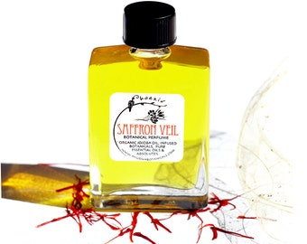 Saffron Veil - Wraps You in Exotic Flowers and Spices, Tuberose, Magnolia Sexy Green Floral - Botanical Perfume - 15 ml