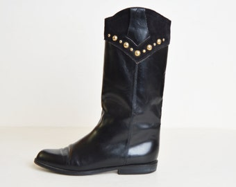 Vintage 90s Leather Riding Boots / 1990s BLACK Studded Knee High Boots 8.5