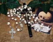 "Unbreakable Historical Replica ""Memento Mori"" Five-Decade Skull Bead Catholic Rosary"