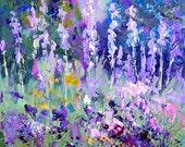Impressionist oil painting, floral abstract landscape, Iris Garden original landscape art, Garden art, palette knife painting, 6x8 inch