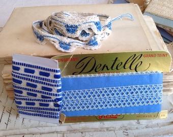 Antique Laces / Vintage Laces & Trims Needlepoint laces 3 pcs Blue Bobbin Lace Vintage Wooven Tape Trim Vintage Wedding Dolls and Bears