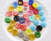 Vintage 13mm Colorful Pressed Czech Glass Button Half Inch Mix Sew Through Buttons Assortment 38