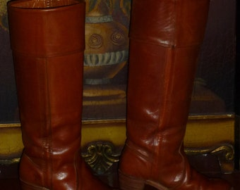 Vintage 70s Frye Saddle Brown Leather Boots Stacked Wood Heel Cuffed Campus 5.5 B