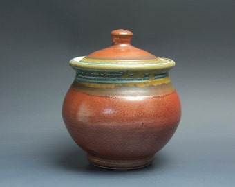 Handmade pottery sugar bowl storage jar tea caddy iron red 3499