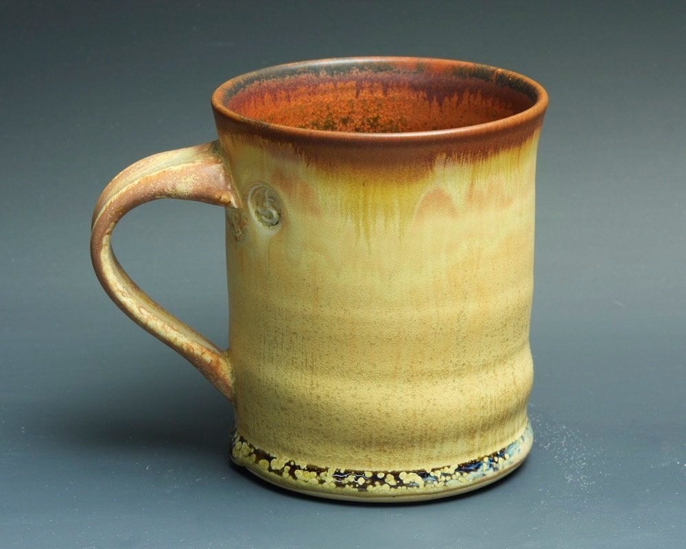 Sale Handmade Pottery Coffee Mug Tea Cup 16 Oz Amber Rust