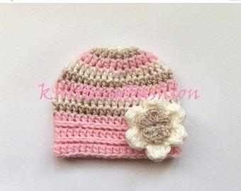 PROMO 10% PROMO Newborn Baby Girl Stripe Hat _ Crochet Baby Hat _ NewBorn Baby Hospital Hat _ Photo Props Baby Hat