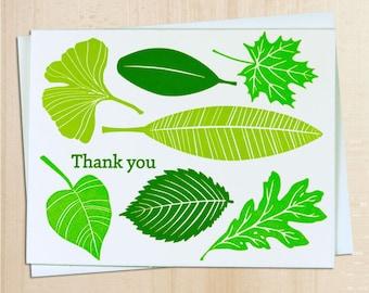 Handmade Letterpress Green Leaves Thank you