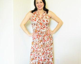 Vintage 1970's Long Sleeveless Sun Maxi Dress / Orange Floral Print Retro Summer Dress Size Medium