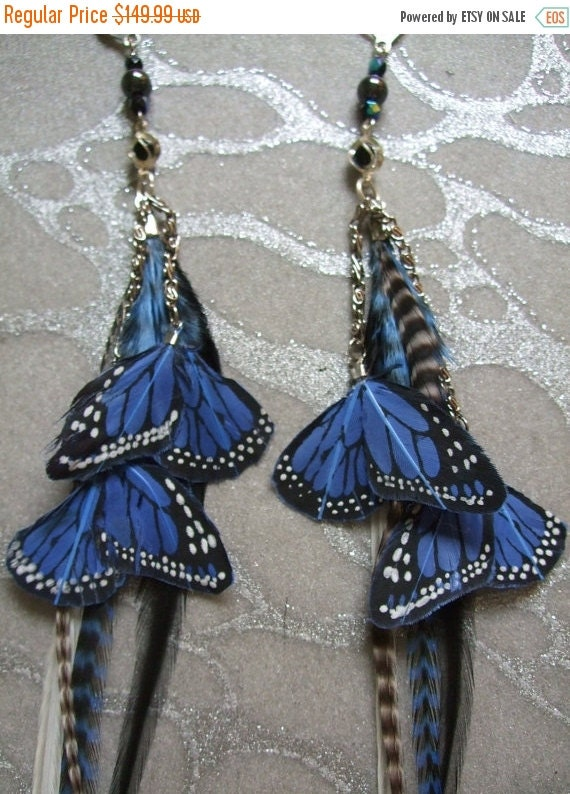 HALF OFF VALENTINES Sale Feather Earrings w Blue Butterfly Wings, Chains, Beads Long Blue & Black Grizzly, White and Black Grizzly