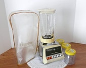 Vintage Osterizer Push Button Blender - Yellow and Chrome Retro Blender with Osterizer Cover and Three Blender Jars
