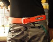Fat Nylon Belt - Hi-Viz Orange with White D-Rings