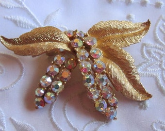 Vintage Gold Tone Three-Leaf Brooch with Double Row of Iridescent Rhinestones