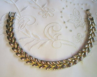 Vintage Gold and Silver Tone Chevron Linked Bracelet