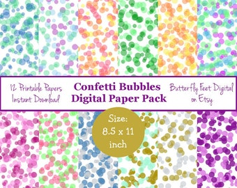Confetti Sprinkles Digital Paper, 8.5 x 11 Inch, 12 Printable Designs, Scrapbooking, Card Making, Paper Crafting, Instant Download