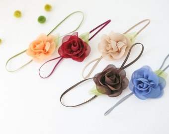 Fall in Line -Simple Sweets - Chiffon Flower bloom headband bows in fall shades burgundy blue brown tan orange pumpkin