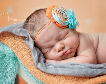 Citrus Business- orange and teal chiffon and rosette headband