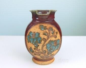 Vintage Mark Blumenfeld California Studio Pottery Stoneware Pitcher Incised Floral Design