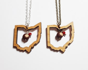 Wooden Ohio Outline Buckeye Necklace | Reclaimed Wood | Ohio State Necklace | Ohio Gift