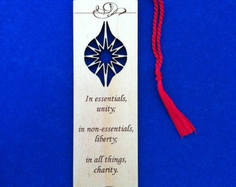 Wood Moravian Star and Motto Bookmark