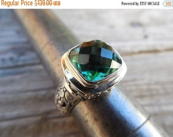 ON SALE Beautiful handmade green amethyst ring in sterling silver