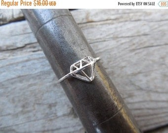 ON SALE Diamond shape ring handmade in sterling silver