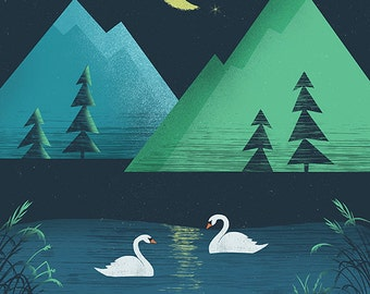 Moonlight Swim Print