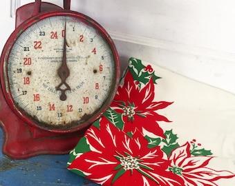 Vintage Christmas Tablecloth, Vintage Poinsettia Tablecloth, Vintage Tablecloth Candles and Poinsettias, Holiday Tablecloth