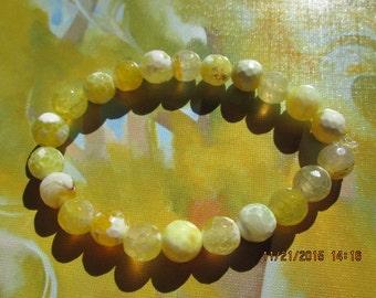 161  yellow fire agate 8mm beaded bracelet