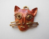 Solid Copper Charm Pendant Kitty Cat 24mm Cat Lover