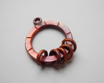 Solid Copper Ring Connector Large 5 Rings Red Patina 30mm