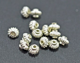 Silver plated saucer beads, 5.5mm - #1968