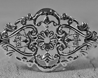 Silver plated focal, 59x35mm, #375
