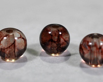 Brown swirl glass beads, 7mm, #674