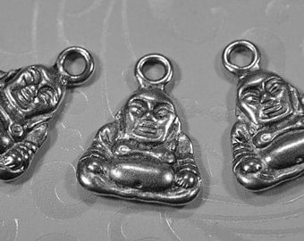 Pewter Buddha charms, 15mm, #788