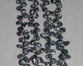 Pearl, Freshwater Pearl, Flake Pearl, Mystic Blue Pearl, Genuine Pearl, Loose Pearl, Top Drilled Pearl, Strand, 10-19mm, AdrianasBeads