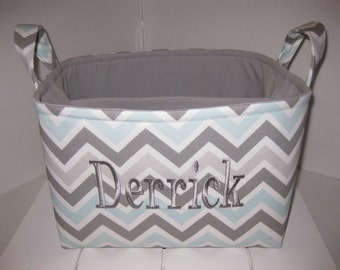 Large Diaper Caddy 10 x 10 x 7 / Organizer Bin / Blue Grey White Chevron  -Zig Zag- Personalization Available