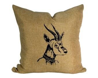 Black Gazelle Print, on Beige Linen Look Fabric