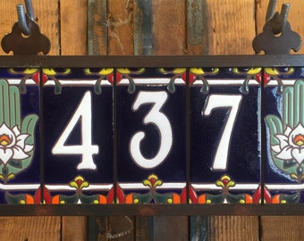 Custom White on Royal Blue Ceramic Tile House Numbers with Hamsa Hand End Caps