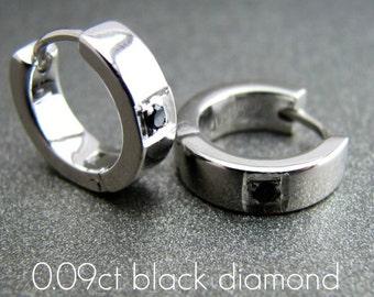 Men's hoop earrings, men's earrings hoops, white gold with black diamond, black diamond hoop earrings, unique huggie hoop earrings, E152SWD