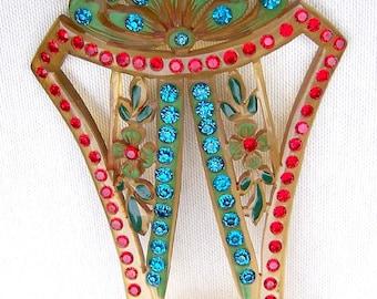 Multi Rhinestone Hair Pick Art Deco Celluloid Hair Comb Hair Pin Hair Jewelry Decorative Comb Hair Ornament