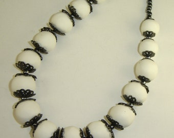 White Clay Beads with Gunmetal Accents Necklace