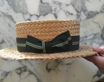 Mens 20s Boater Hat . Antique Straw . Green Band . Size 7