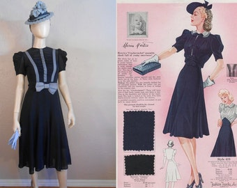 Summer Holidays in Tyrol - Vintage 1930s Navy Chiffon Rayon Gift Dress w/Forget Me Knot Blue Ribbons - 2/4