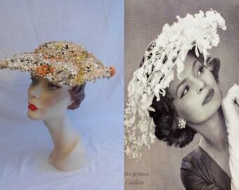 Dache'd If I Know - Vintage 1950s Dachettes by Lily Dache Rayon Papier-mâché Floral Wired Platter Wide Brim Hat