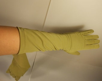 Muted Moments of Envy - Vintage 1950s Pea Green Chartreuse Nylon Long Mid Arm Gloves - 7 1/2