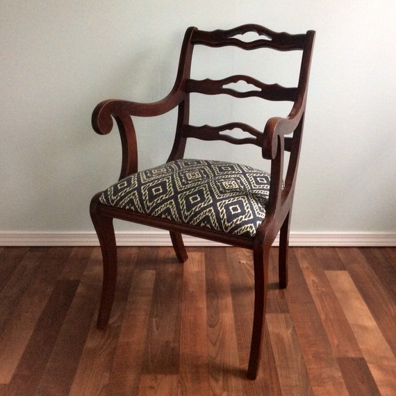 Mahogany Ikat Desk Chair Vanity Chair Accent Chair Antique