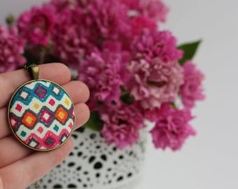 Colorful Boho Necklace With Fabric Pendant, Geometric Jewelry, Hippie Necklace, Large Round Pendant, Diamond Pattern, Blue, Orange, Pink