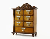 Antique Wood Spice Wall Cabinet, Seven Drawer Cabinet, Poreclain Labels Knobs