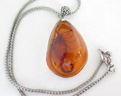 Vintage 925 Sterling Silver Large Amber Scorpion Pendant Necklace